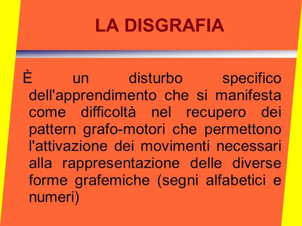 LA DISGRAFIA È un disturbo specifico dell'apprendimento che si manifesta come difficoltà nel recupero dei pattern grafo-motori che permettono l'attiva