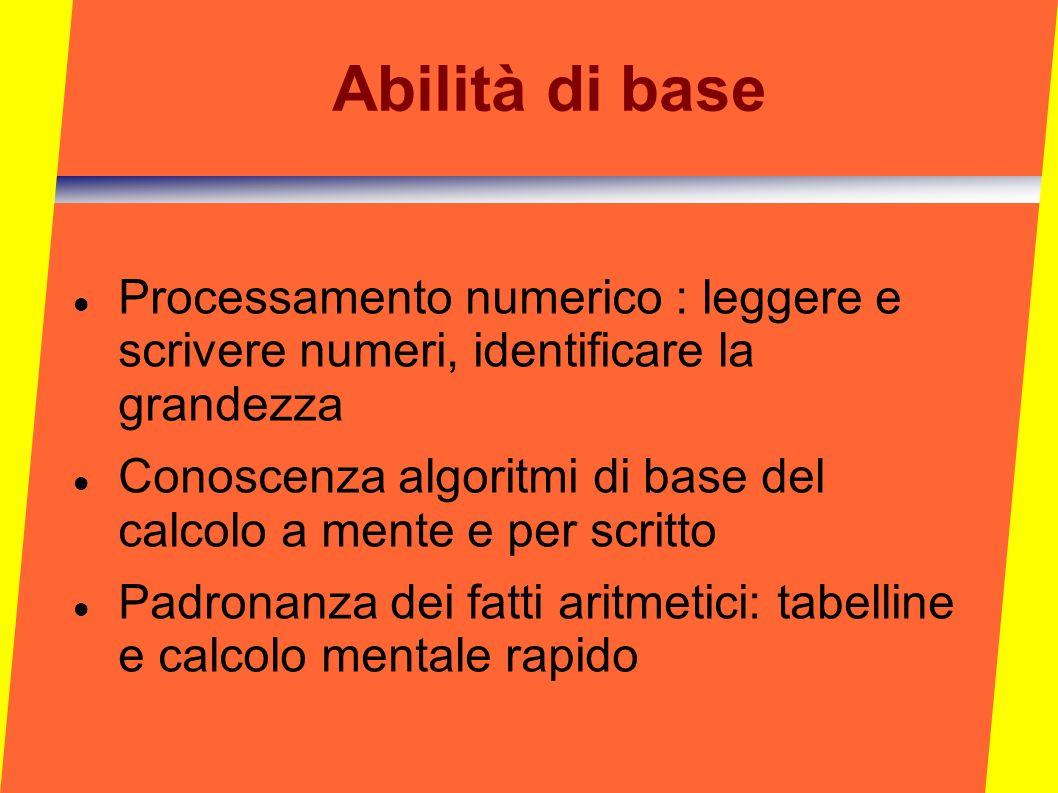 Abilità di base Processamento numerico : leggere e scrivere numeri, identificare la grandezza Conoscenza algoritmi di base del calcolo a mente e per s