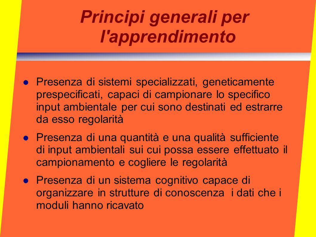 Principi generali per l'apprendimento Presenza di sistemi specializzati, geneticamente prespecificati, capaci di campionare lo specifico input ambient