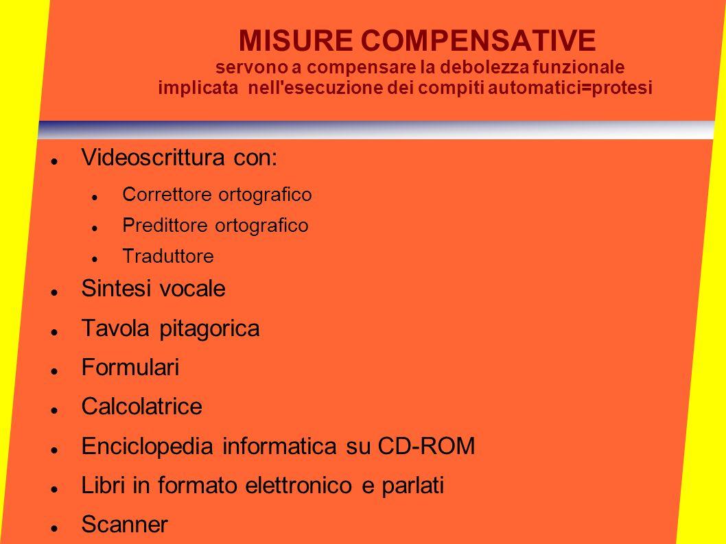 MISURE COMPENSATIVE servono a compensare la debolezza funzionale implicata nell'esecuzione dei compiti automatici=protesi Videoscrittura con: Corretto