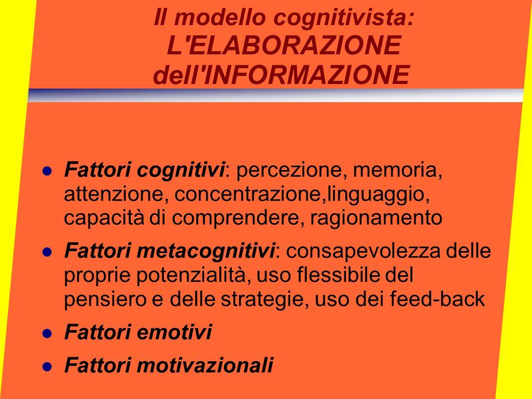 Il modello cognitivista: L'ELABORAZIONE dell'INFORMAZIONE Fattori cognitivi: percezione, memoria, attenzione, concentrazione,linguaggio, capacità di c