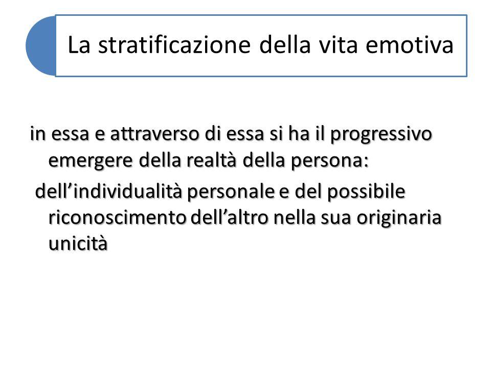 La stratificazione della vita emotiva in essa e attraverso di essa si ha il progressivo emergere della realtà della persona: dellindividualità persona
