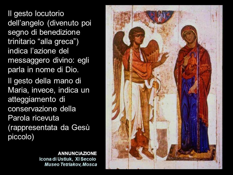 ANNUNCIAZIONE Icona di Ustiuk, XI Secolo Museo Tetriakov, Mosca Il gesto locutorio dellangelo (divenuto poi segno di benedizione trinitario alla greca
