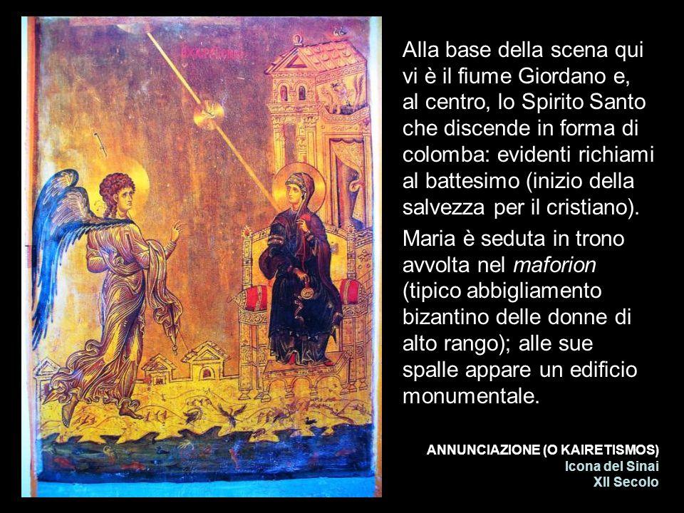 ANNUNCIAZIONE (O KAIRETISMOS) Icona del Sinai XII Secolo Alla base della scena qui vi è il fiume Giordano e, al centro, lo Spirito Santo che discende