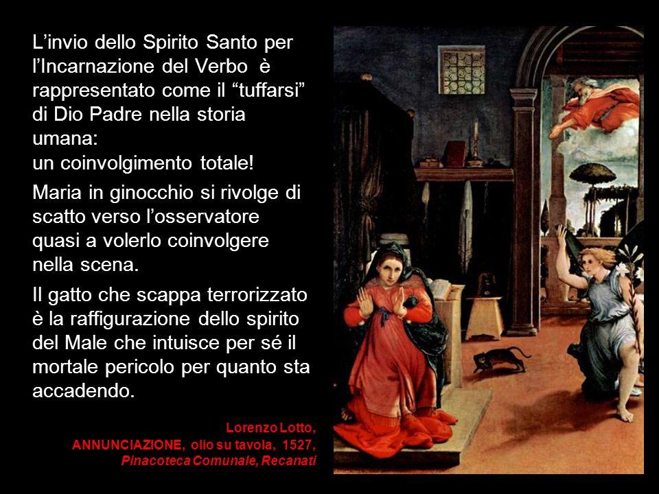 Lorenzo Lotto, ANNUNCIAZIONE, olio su tavola, 1527, Pinacoteca Comunale, Recanati Linvio dello Spirito Santo per lIncarnazione del Verbo è rappresenta