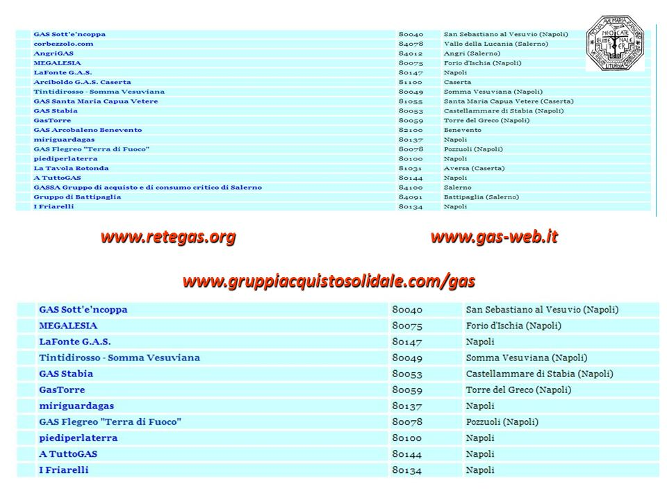 www.retegas.org www.gas-web.it www.gruppiacquistosolidale.com/gas