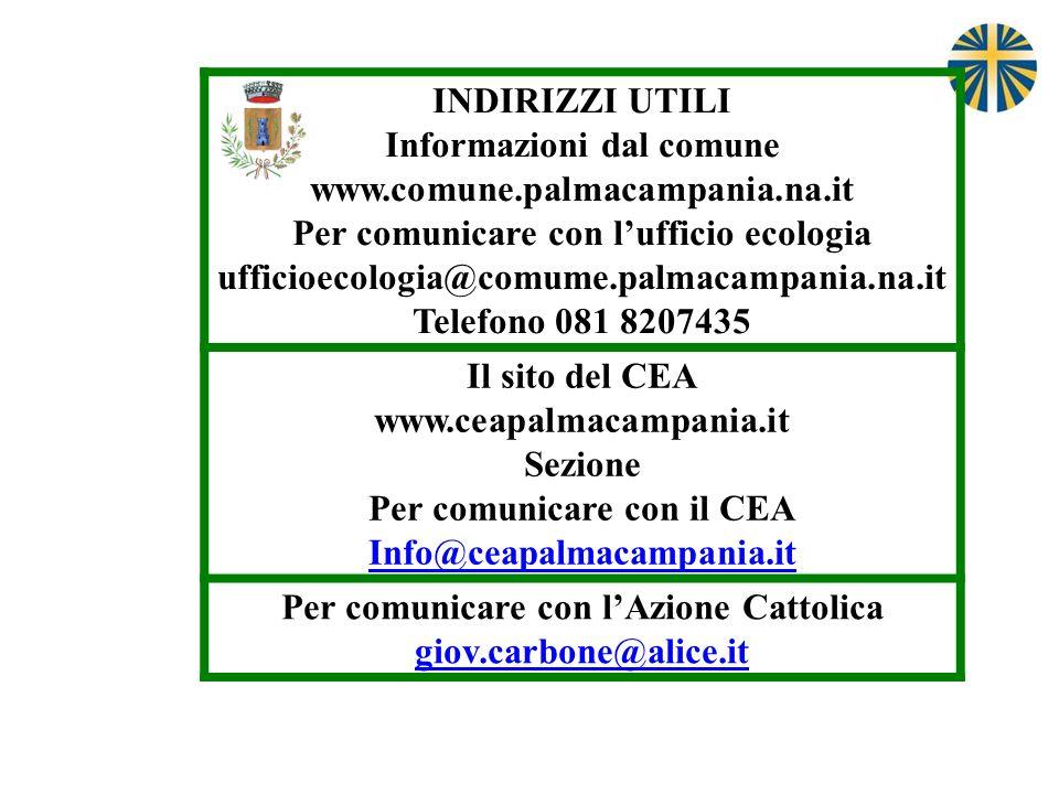 INDIRIZZI UTILI Informazioni dal comune www.comune.palmacampania.na.it Per comunicare con lufficio ecologia ufficioecologia@comume.palmacampania.na.it