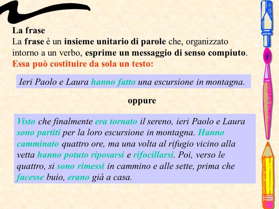La frase La frase è un insieme unitario di parole che, organizzato intorno a un verbo, esprime un messaggio di senso compiuto.