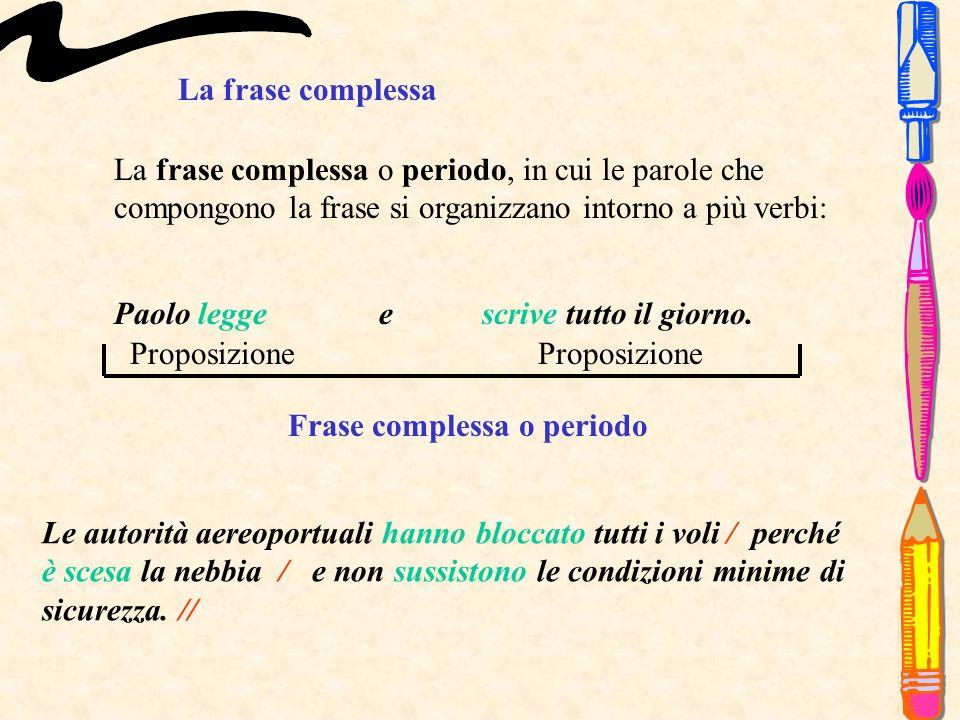 La frase complessa o periodo, in cui le parole che compongono la frase si organizzano intorno a più verbi: La frase complessa Paolo legge e scrive tutto il giorno.