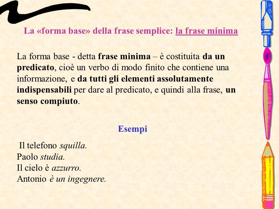 La «forma base» della frase semplice: la frase minima La forma base - detta frase minima – è costituita da un predicato, cioè un verbo di modo finito