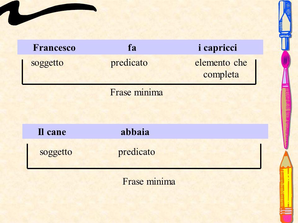 Francesco fa i capricci soggettopredicatoelemento che completa Frase minima Il cane abbaia soggettopredicato Frase minima