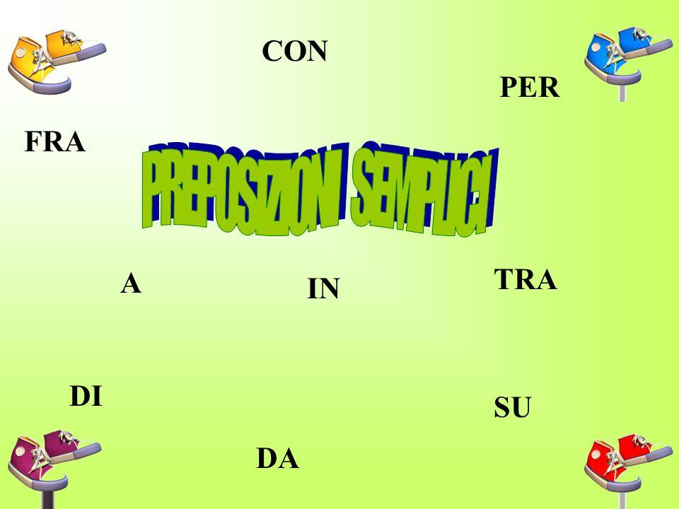 La preposizione e la parte invariabile del discorso che, davanti a sostantivi, aggettivi pronomi,infiniti di verbi,indica la relazione che passa fra quelli e altri nomi e verbi, serve cioè a formare complementi.