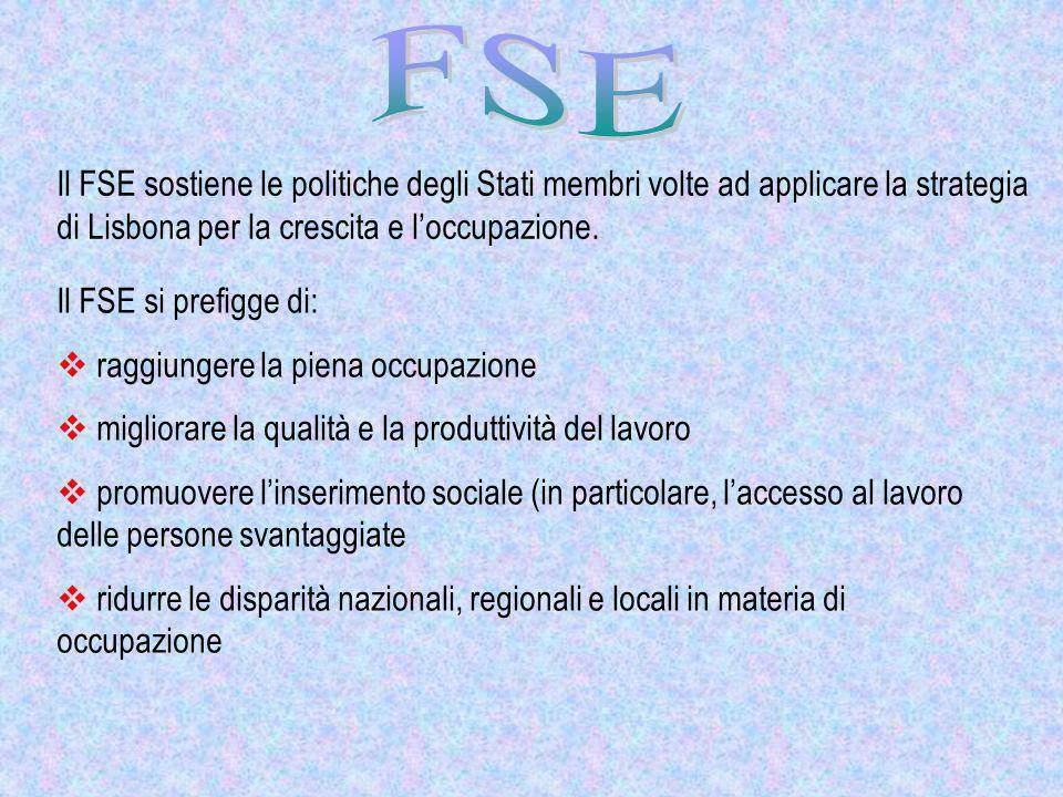 Il FSE sostiene le politiche degli Stati membri volte ad applicare la strategia di Lisbona per la crescita e loccupazione. Il FSE si prefigge di: ragg