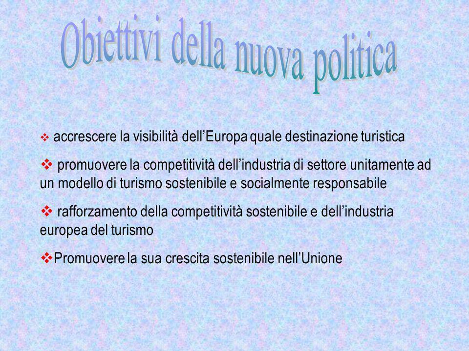 accrescere la visibilità dellEuropa quale destinazione turistica promuovere la competitività dellindustria di settore unitamente ad un modello di turi