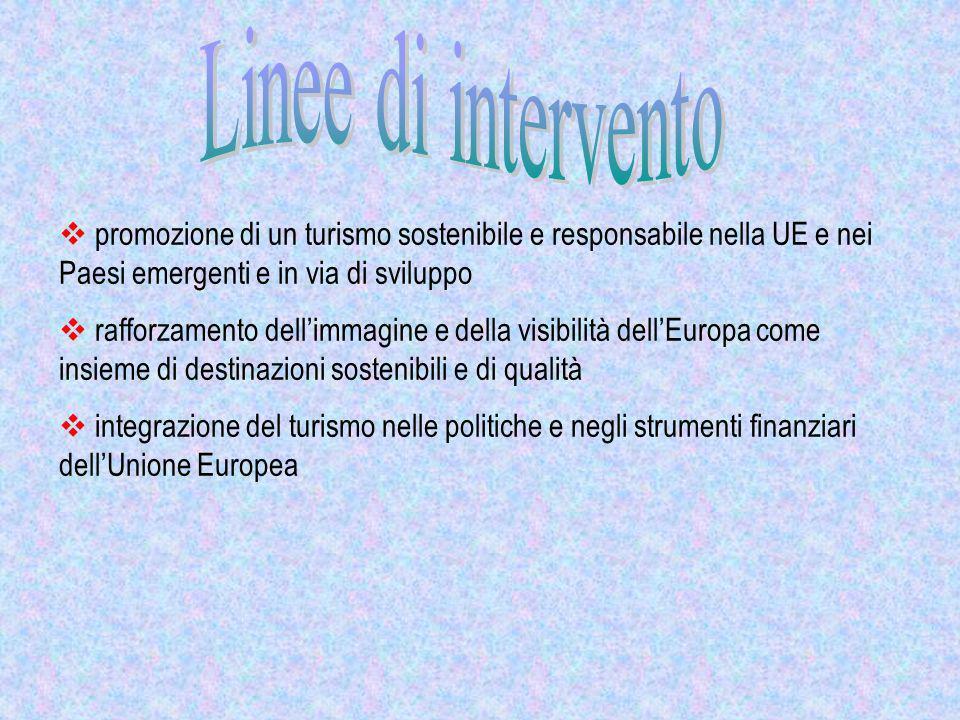 promozione di un turismo sostenibile e responsabile nella UE e nei Paesi emergenti e in via di sviluppo rafforzamento dellimmagine e della visibilità