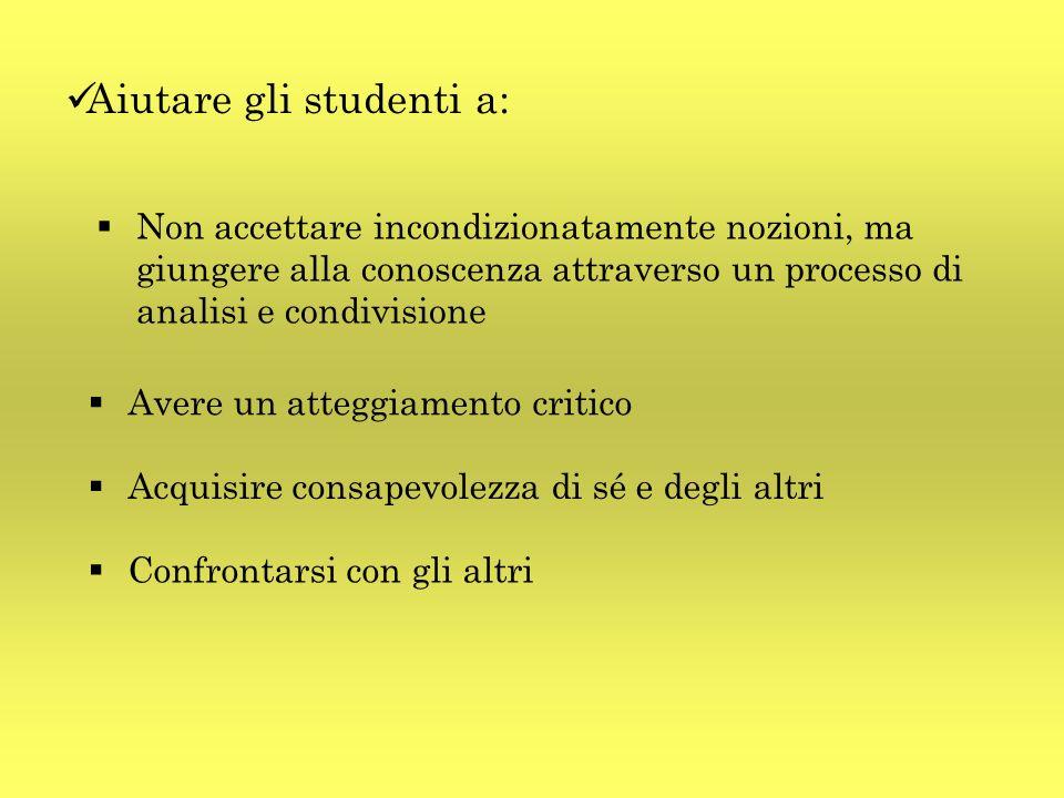 Aiutare gli studenti a: Non accettare incondizionatamente nozioni, ma giungere alla conoscenza attraverso un processo di analisi e condivisione Avere