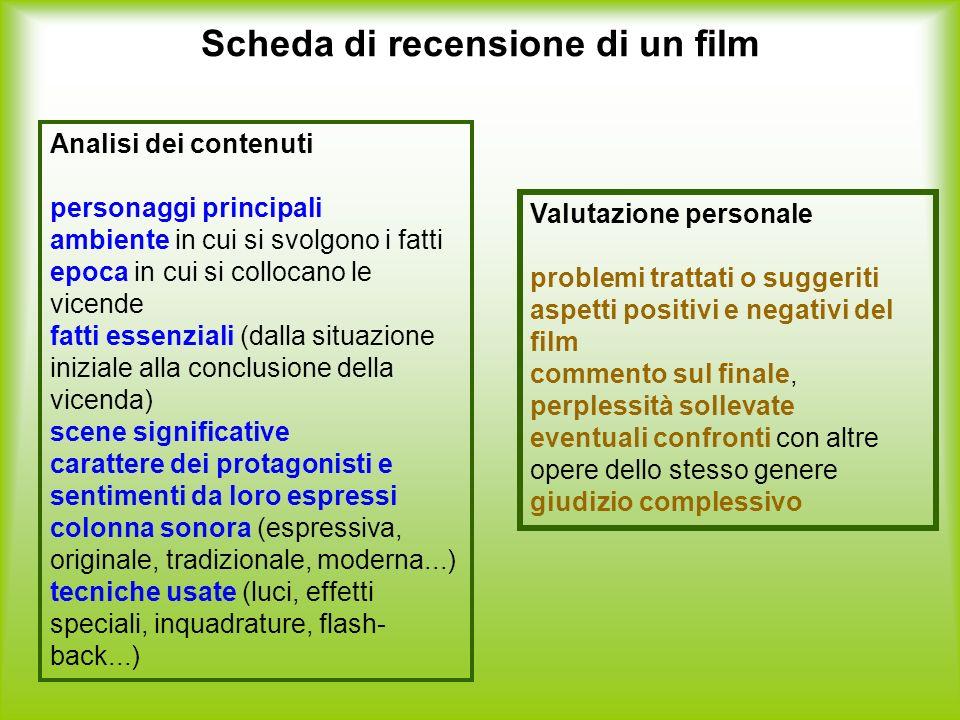 Scheda di recensione di un film Analisi dei contenuti personaggi principali ambiente in cui si svolgono i fatti epoca in cui si collocano le vicende f