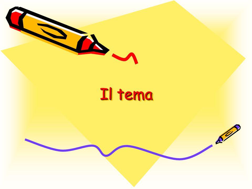 Il tema è il tipo di testo scritto più diffuso nella scuola; esso è un testo scritto sviluppato in modo organico e logico su un argomento indicato dal titolo ( o traccia).