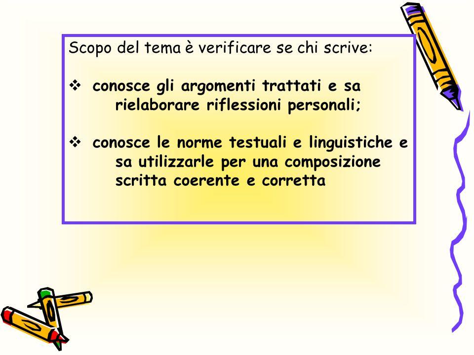 Scopo del tema è verificare se chi scrive: conosce gli argomenti trattati e sa rielaborare riflessioni personali; conosce le norme testuali e linguist
