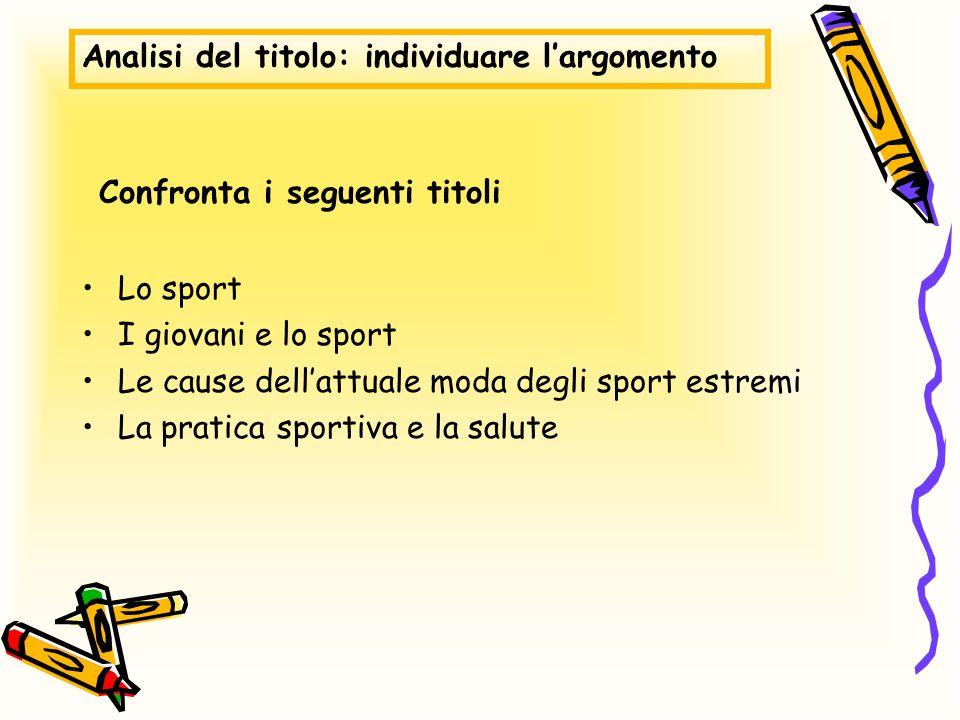 Analisi del titolo: individuare largomento Lo sport I giovani e lo sport Le cause dellattuale moda degli sport estremi La pratica sportiva e la salute