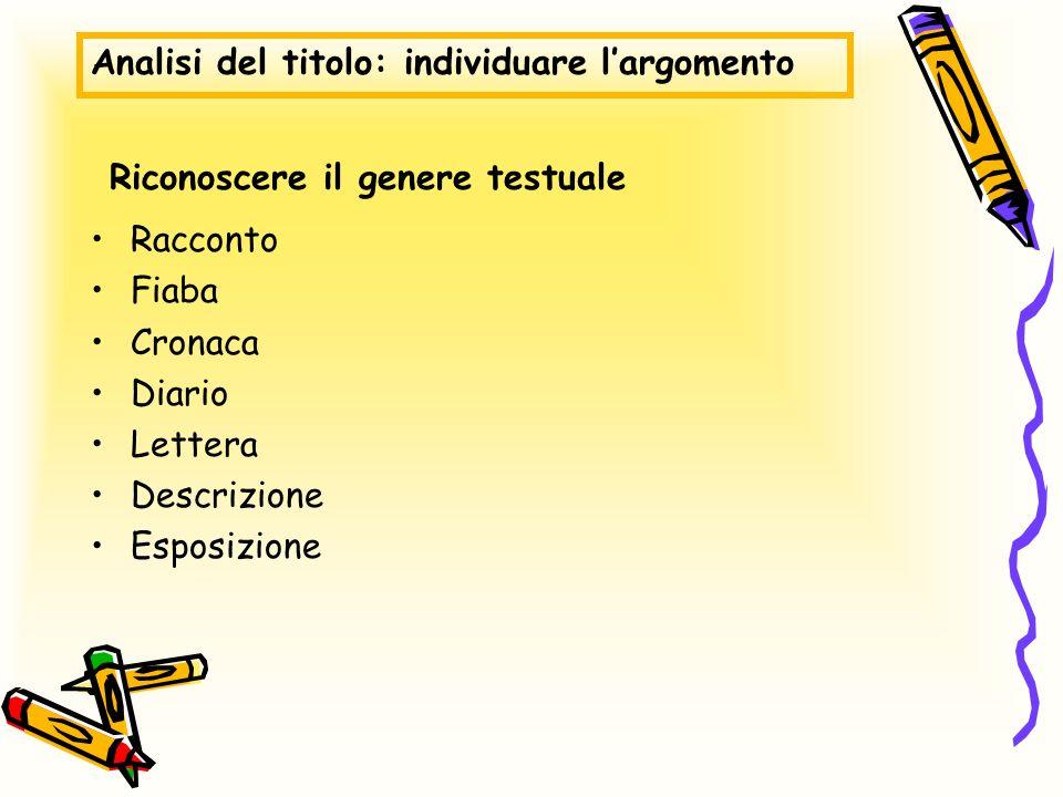 Riconoscere il genere testuale Racconto Fiaba Cronaca Diario Lettera Descrizione Esposizione Analisi del titolo: individuare largomento