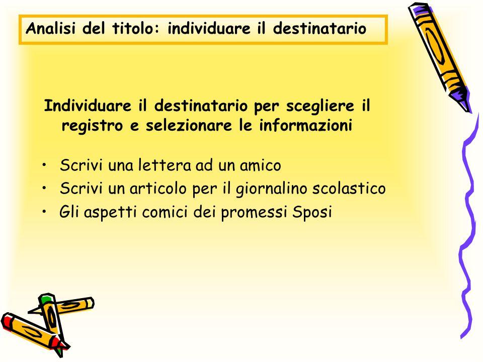 Individuare il destinatario per scegliere il registro e selezionare le informazioni Scrivi una lettera ad un amico Scrivi un articolo per il giornalin