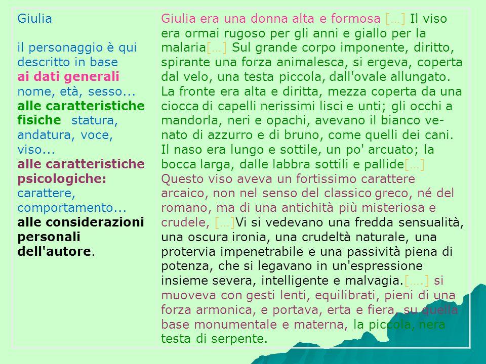 Giulia il personaggio è qui descritto in base ai dati generali: nome, età, sesso... alle caratteristiche fisiche: statura, andatura, voce, viso... all