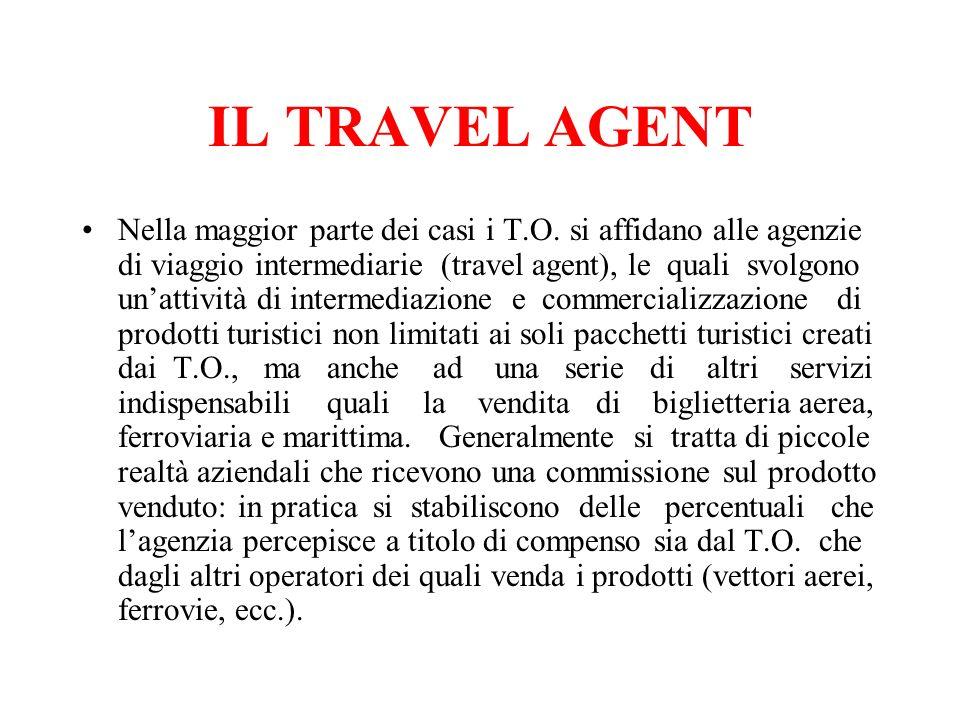 IL TRAVEL AGENT Nella maggior parte dei casi i T.O. si affidano alle agenzie di viaggio intermediarie (travel agent), le quali svolgono unattività di