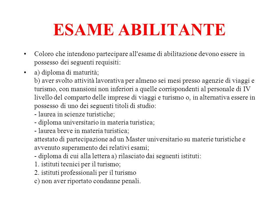 ESAME ABILITANTE Coloro che intendono partecipare all'esame di abilitazione devono essere in possesso dei seguenti requisiti: a) diploma di maturità;
