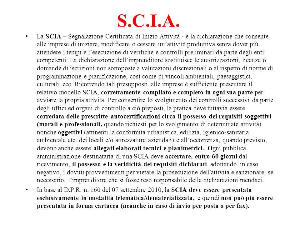 S.C.I.A. La SCIA – Segnalazione Certificata di Inizio Attività - è la dichiarazione che consente alle imprese di iniziare, modificare o cessare unatti