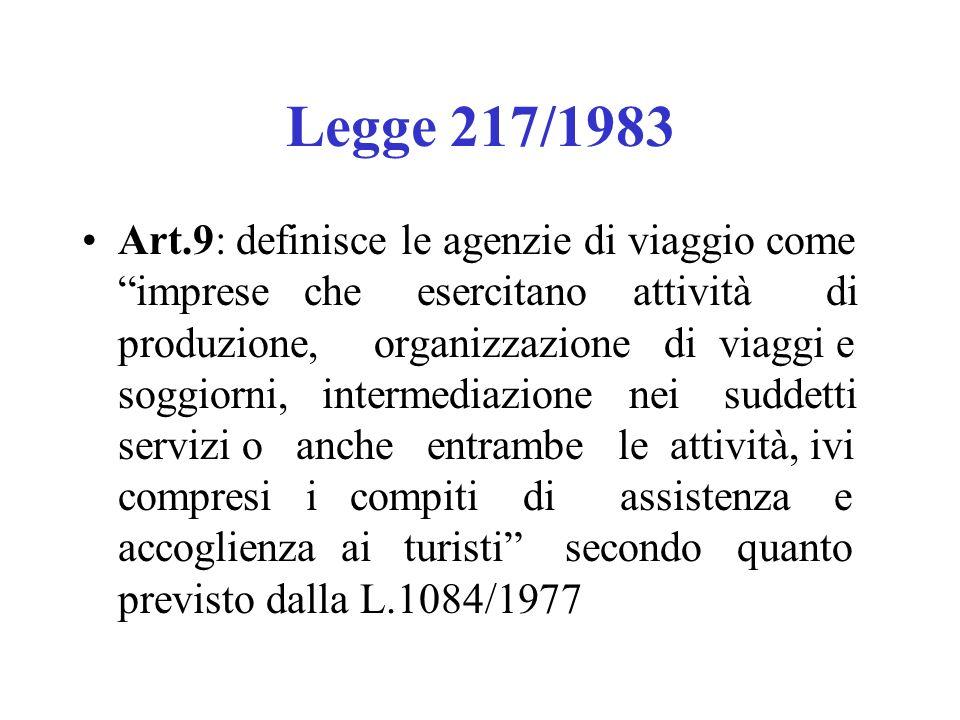 Legge 217/1983 Art.9: definisce le agenzie di viaggio come imprese che esercitano attività di produzione, organizzazione di viaggi e soggiorni, interm