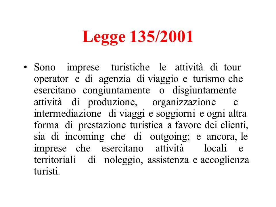 Legge 135/2001 Sono imprese turistiche le attività di tour operator e di agenzia di viaggio e turismo che esercitano congiuntamente o disgiuntamente a