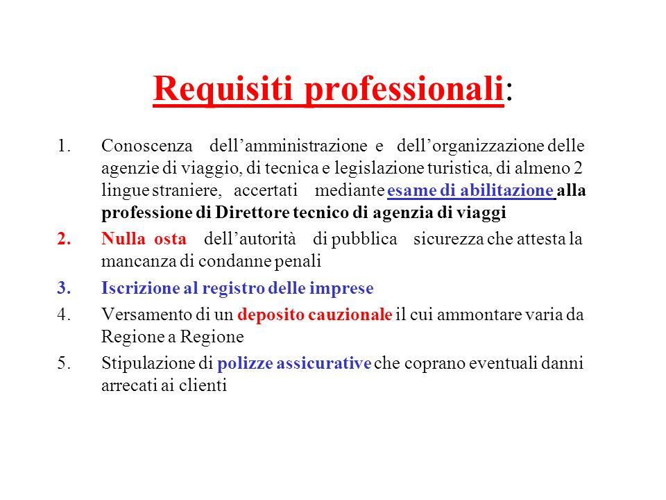 Requisiti professionali: 1.Conoscenza dellamministrazione e dellorganizzazione delle agenzie di viaggio, di tecnica e legislazione turistica, di almen
