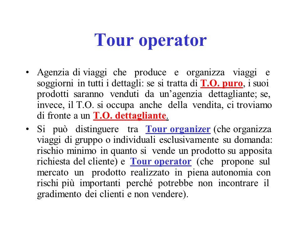Tour operator Agenzia di viaggi che produce e organizza viaggi e soggiorni in tutti i dettagli: se si tratta di T.O. puro, i suoi prodotti saranno ven