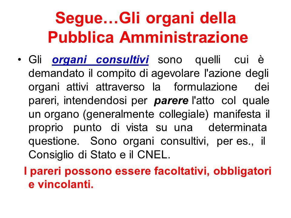 Segue…Gli organi della Pubblica Amministrazione Gli organi consultivi sono quelli cui è demandato il compito di agevolare l'azione degli organi attivi