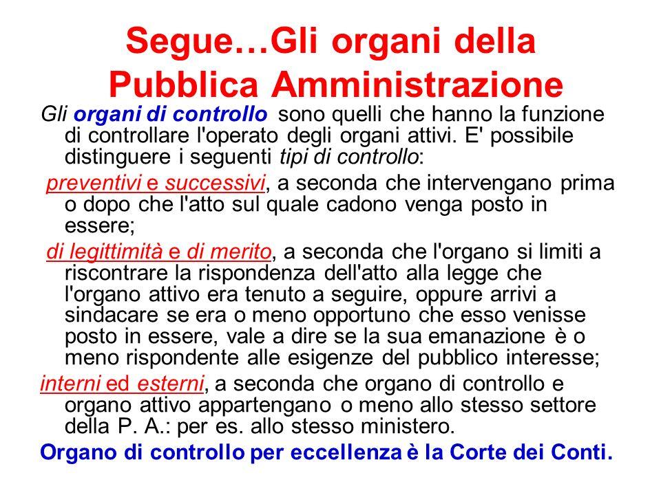Segue…Gli organi della Pubblica Amministrazione Gli organi di controllo sono quelli che hanno la funzione di controllare l'operato degli organi attivi