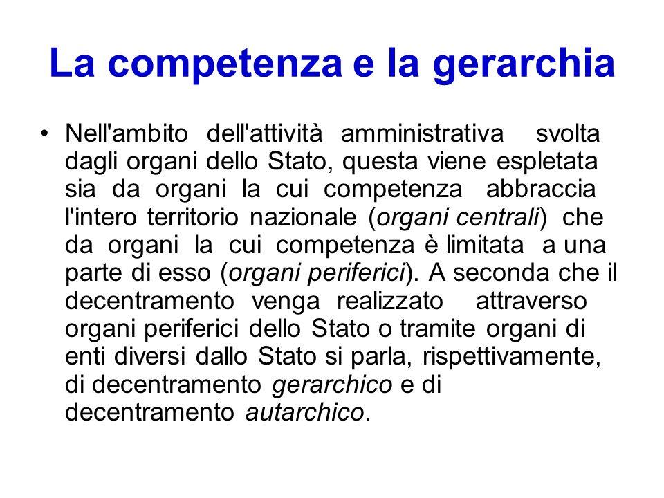 La competenza e la gerarchia Nell'ambito dell'attività amministrativa svolta dagli organi dello Stato, questa viene espletata sia da organi la cui com