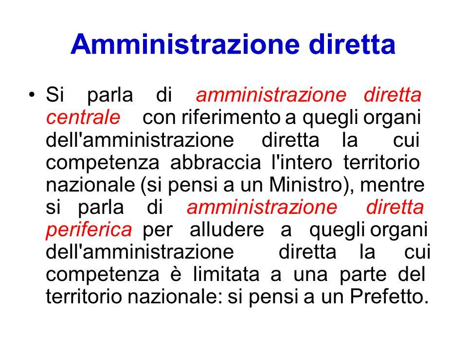 Amministrazione diretta Si parla di amministrazione diretta centrale con riferimento a quegli organi dell'amministrazione diretta la cui competenza ab
