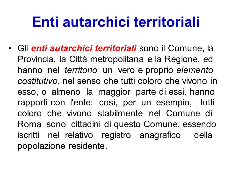 Enti autarchici territoriali Gli enti autarchici territoriali sono il Comune, la Provincia, la Città metropolitana e la Regione, ed hanno nel territor
