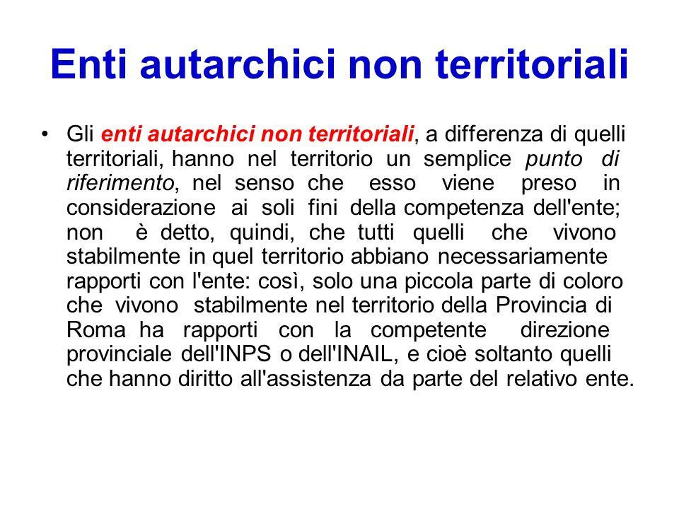 Enti autarchici non territoriali Gli enti autarchici non territoriali, a differenza di quelli territoriali, hanno nel territorio un semplice punto di