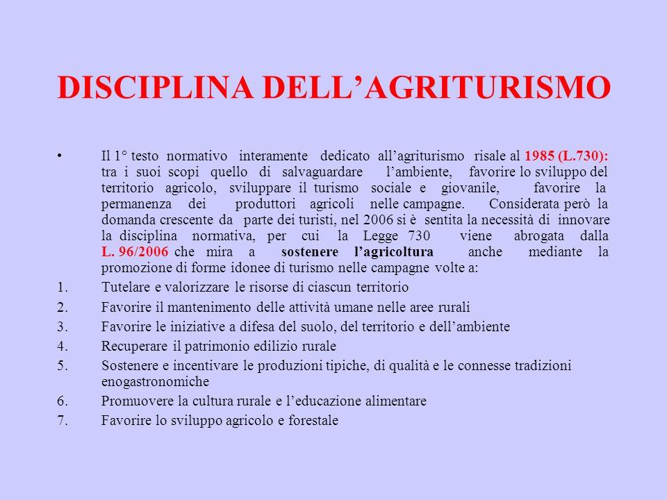 DISCIPLINA DELLAGRITURISMO Il 1° testo normativo interamente dedicato allagriturismo risale al 1985 (L.730): tra i suoi scopi quello di salvaguardare