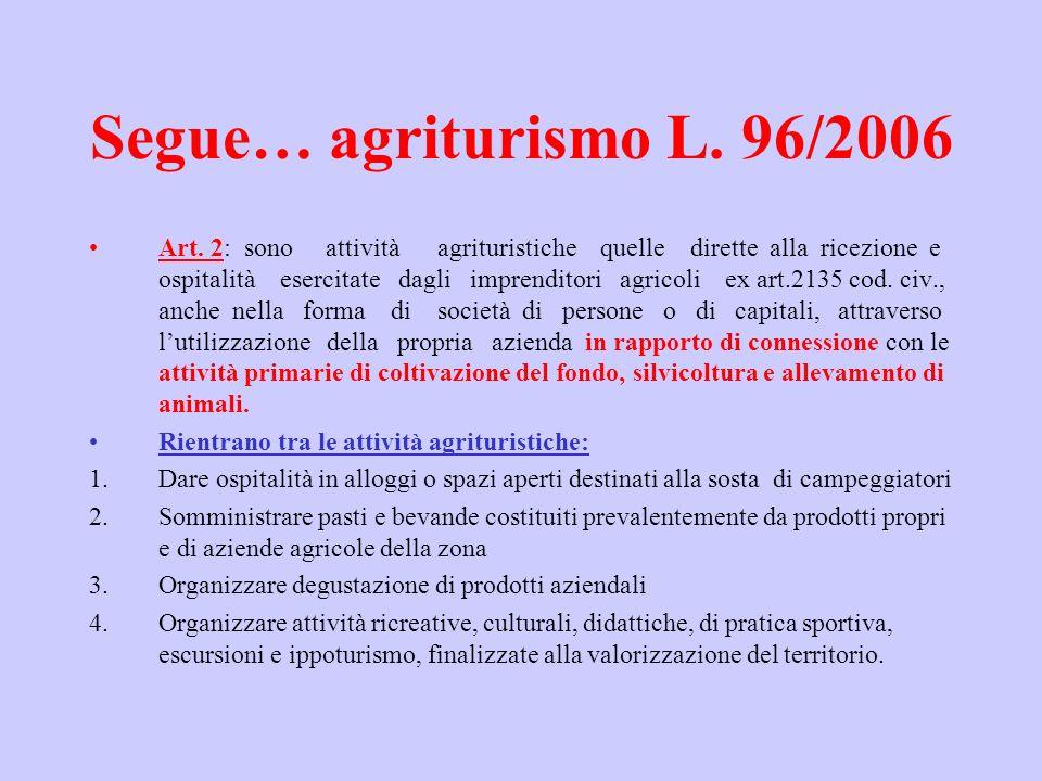 Segue… agriturismo L. 96/2006 Art. 2: sono attività agrituristiche quelle dirette alla ricezione e ospitalità esercitate dagli imprenditori agricoli e