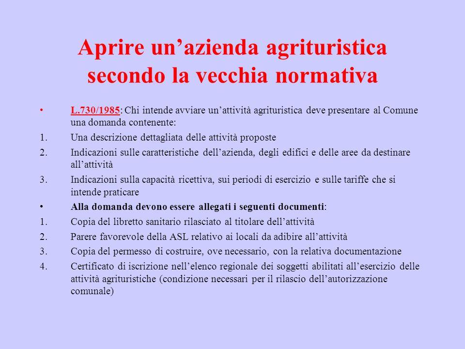 Aprire unazienda agrituristica secondo la vecchia normativa L.730/1985: Chi intende avviare unattività agrituristica deve presentare al Comune una dom