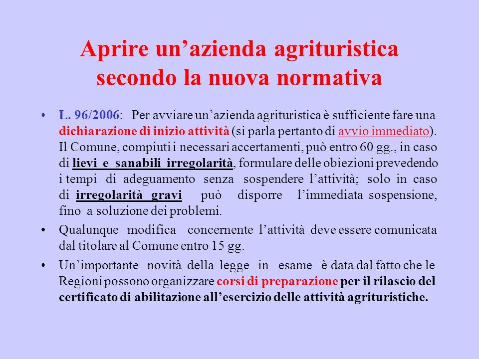 Aprire unazienda agrituristica secondo la nuova normativa L. 96/2006: Per avviare unazienda agrituristica è sufficiente fare una dichiarazione di iniz