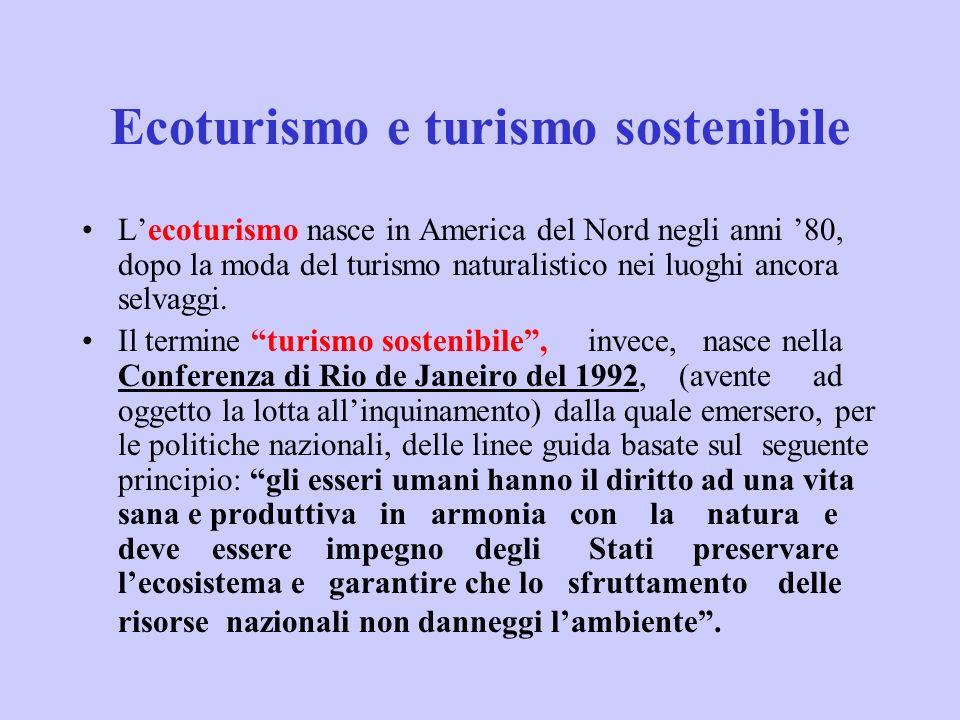 Ecoturismo e turismo sostenibile Lecoturismo nasce in America del Nord negli anni 80, dopo la moda del turismo naturalistico nei luoghi ancora selvagg