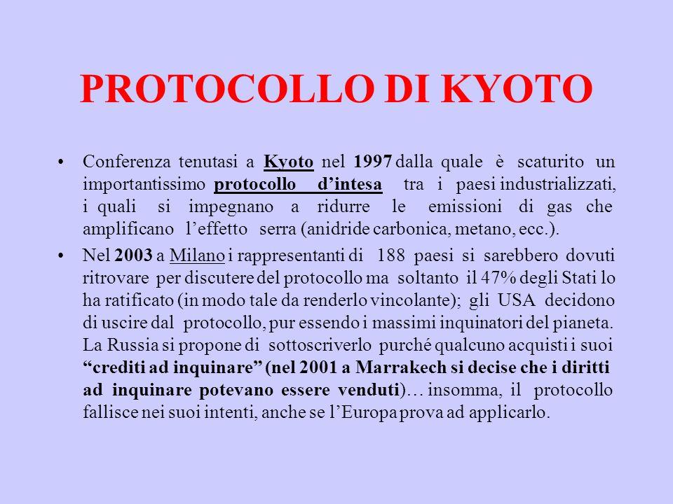 PROTOCOLLO DI KYOTO Conferenza tenutasi a Kyoto nel 1997 dalla quale è scaturito un importantissimo protocollo dintesa tra i paesi industrializzati, i