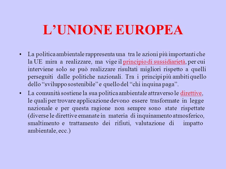 LUNIONE EUROPEA La politica ambientale rappresenta una tra le azioni più importanti che la UE mira a realizzare, ma vige il principio di sussidiarietà