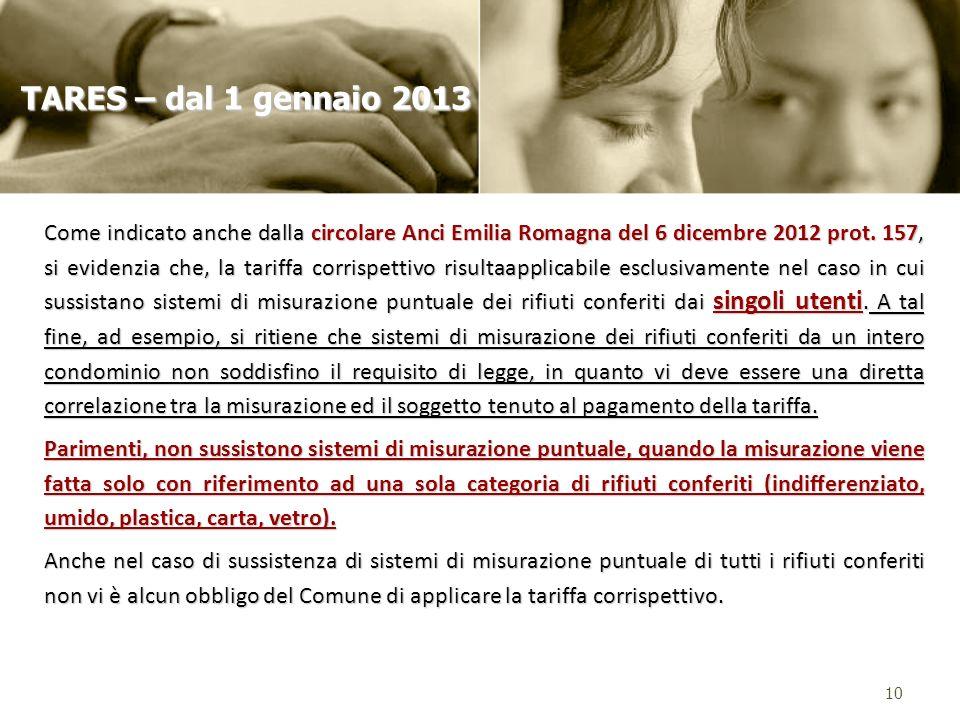 Come indicato anche dalla circolare Anci Emilia Romagna del 6 dicembre 2012 prot. 157, si evidenzia che, la tariffa corrispettivo risultaapplicabile e