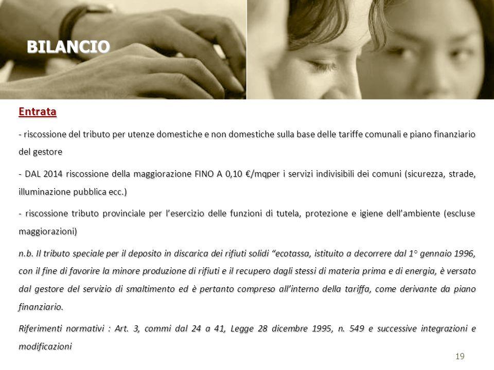Entrata - riscossione del tributo per utenze domestiche e non domestiche sulla base delle tariffe comunali e piano finanziario del gestore - DAL 2014