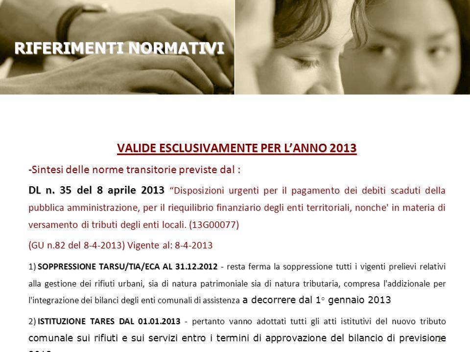 VALIDE ESCLUSIVAMENTE PER LANNO 2013 -Sintesi delle norme transitorie previste dal : DL n. 35 del 8 aprile 2013 Disposizioni urgenti per il pagamento